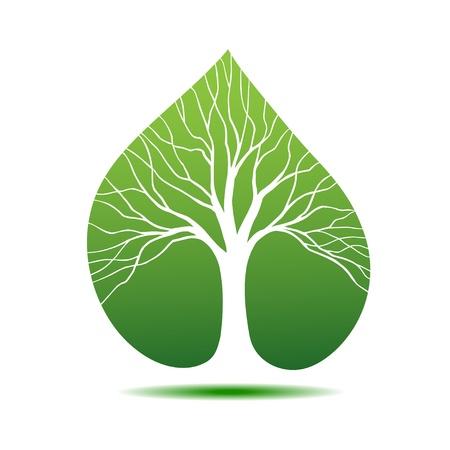 feuille arbre: Symbole arbre sous la forme silhouette sur la feuille Illustration