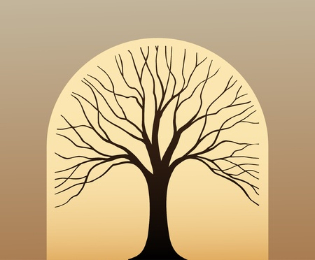 Symbol tree in the form silhouette against leaf Stock Vector - 11272525