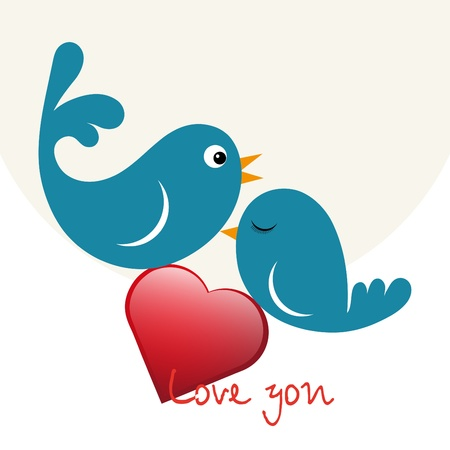 Beautiful birdie in love with heart Stock Vector - 11785437