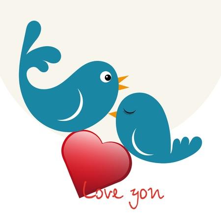 Beautiful birdie in love with heart Stock Vector - 11785437
