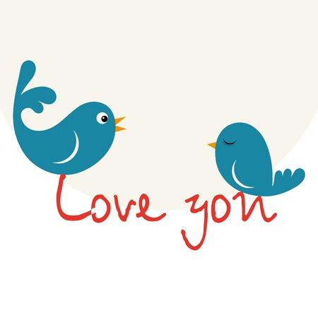 Beautiful birdie in love with heart Stock Vector - 11785433