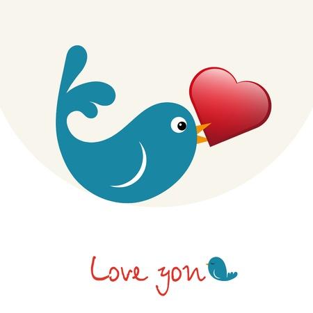 Nice enamoured birdie with heart vector Stock Vector - 11785436