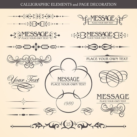 CALLIGRAPHIC ELEMENTS and PAGE DECORATION design Vector