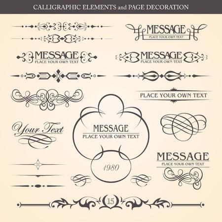 filigree: Kalligrafische elementen en de pagina decoratie ontwerp Stock Illustratie