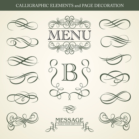 christmas scroll: CALLIGRAPHIC ELEMENTS and PAGE DECORATION design Illustration