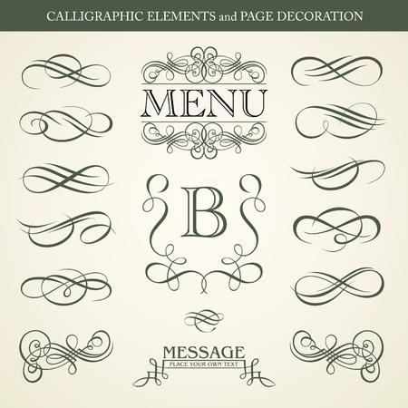 page decoration: Kalligrafische elementen en de pagina decoratie ontwerp Stock Illustratie