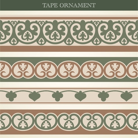 set tape ornament old style Vector