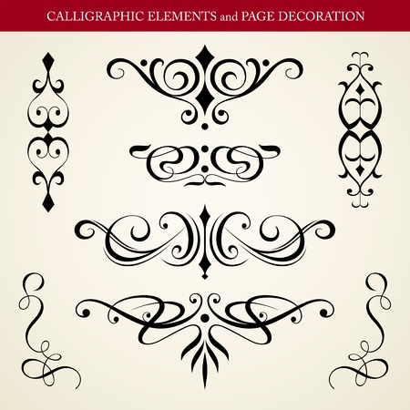 CALLIGRAPHIC ELEMENTS and PAGE DECORATION vector design Vector