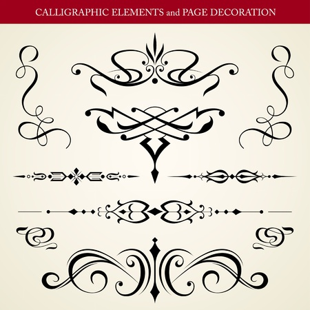 calligraphic design: CALLIGRAPHIC ELEMENTS and PAGE DECORATION vector design