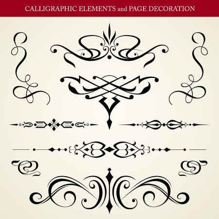 calligraphique: �l�ments calligraphiques et de conception vecteur PAGE DECORATION