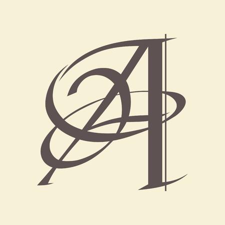 Letra caligráfica de diseño vectorial