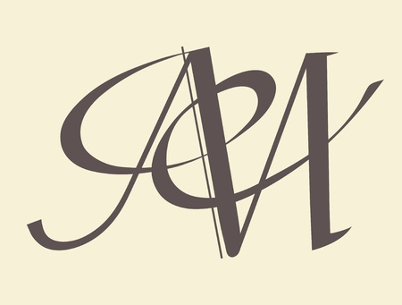 hand write: Calligraphic letter vector design