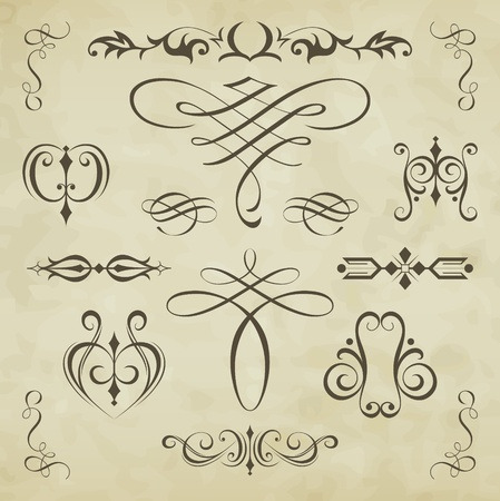 ornamental scroll: Vector set calligraphic element and page decoration