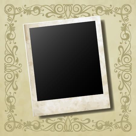 Photo card on ornamental decorative frame vector Vector