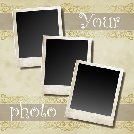 bordure vieille photo: La carte de photo sur le vecteur cadre ornemental d�coratif Illustration