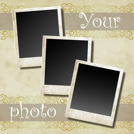 album photo: Photo card on ornamental decorative frame vector