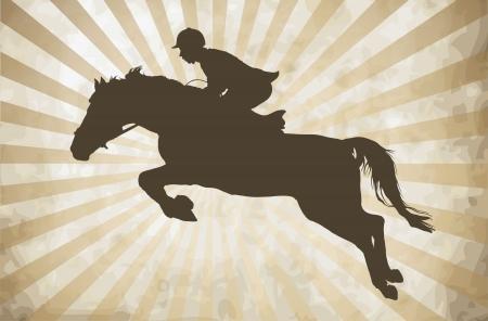 silueta ciclista: La realizaci�n de caballo con jinete Vectores