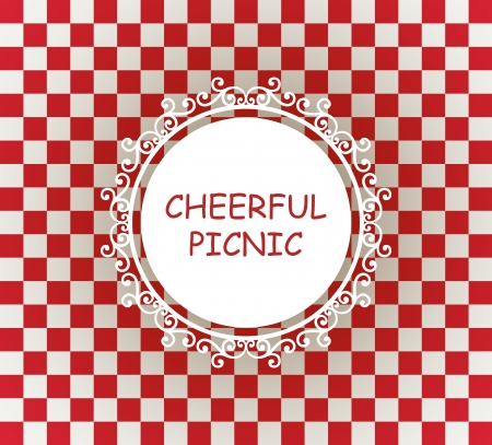 checks: white napkin on red checked tablecloth