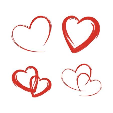 pretty s shiny: Set red heart design Illustration
