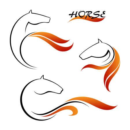 cabeza de caballo: Caballo símbolo y rojas lenguas de fuego