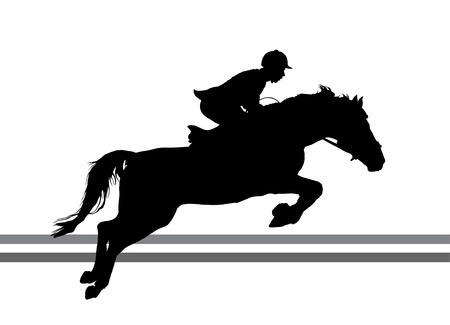 Overcoming of obstacles in horse symbol  Vector