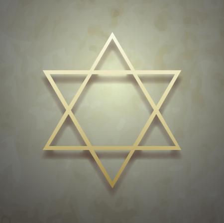 estrella de david: Estrella de David sobre fondo vintage