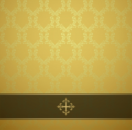 burnished: Gold background with ornamental surface, with dark transparent tape with gold strip, with the gold press Illustration