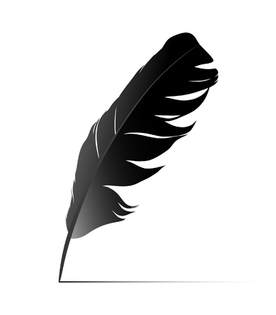 old writing: Black birds feather on white background