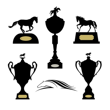 Equestrian sports trophies vector set Vector