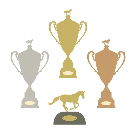 Equestrian sports gold silver and bronze trophies vector set Vector