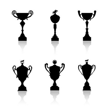 Sports trophies and awards silhouettes vector set Vector