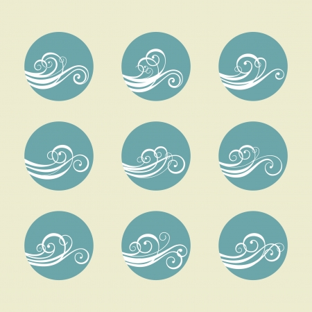 flowing river: Vector set wave element Illustration