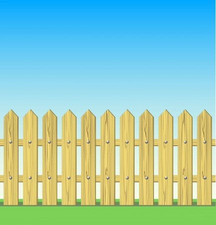 Wooden fence illustration Stock Vector - 15637372