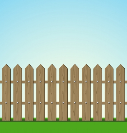 Wooden fence illustration Stock Vector - 15637376