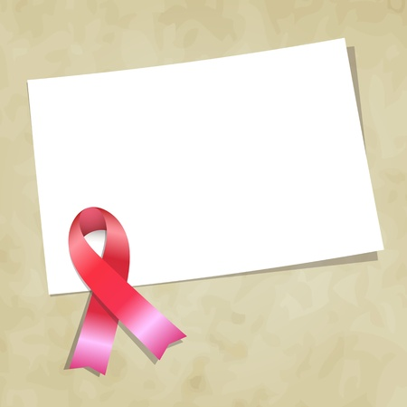 cancer woman: Pink ribbon note vector