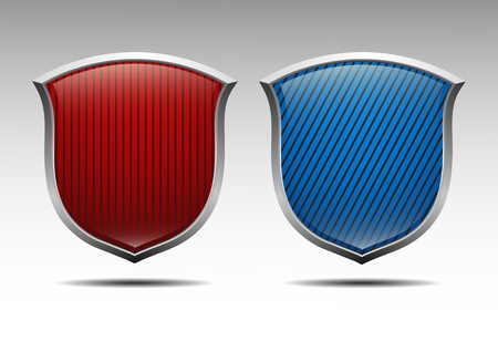 Red and blue protection shield isolated vector Stock Vector - 15830273
