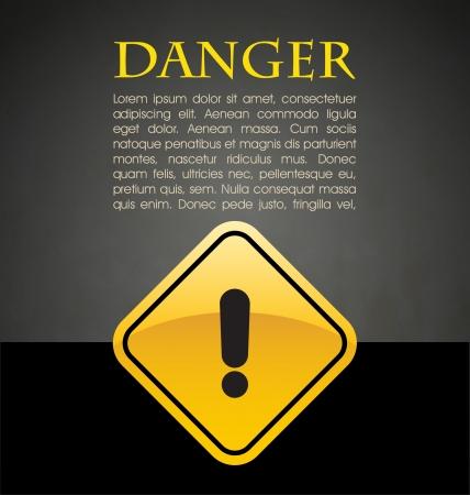 signo de admiracion: Peligro prevenci�n con el signo y el texto