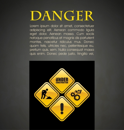 Danger prevention with sign and text  Vector