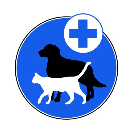 servicio domestico: ilustraci�n s�mbolo veterinario con el perro y el gato Vectores