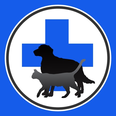 vet: illustration veterinary symbol with dog and cat