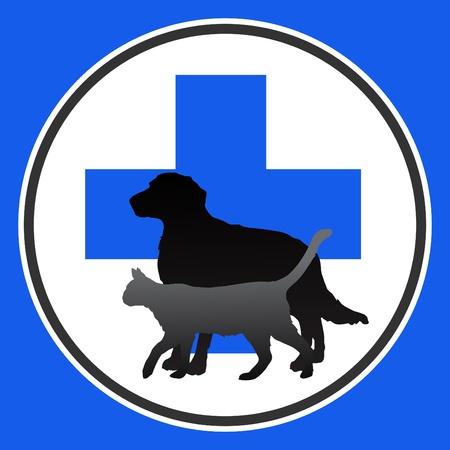 ilustración símbolo veterinario con el perro y el gato