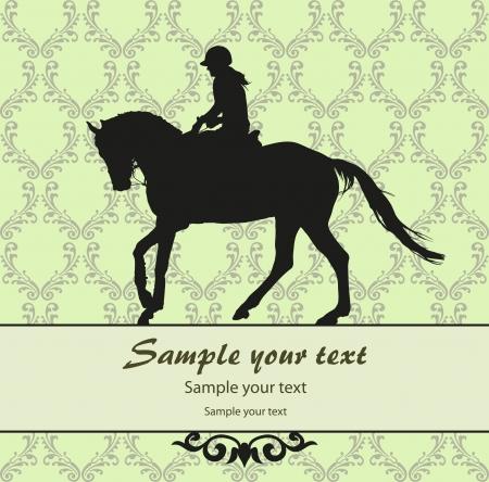 bear silhouette: Sfondo con illustrazione cavallo