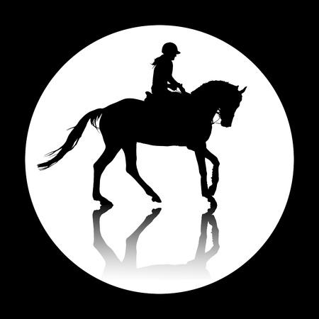 silueta ni�o: Fondo con la ilustraci�n caballo
