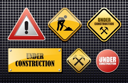 Under construction set  sign for site Stock Vector - 17329272