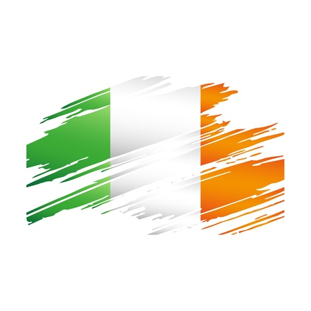 Flag Ireland in the form traces brush isolated  Vector