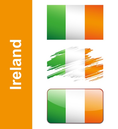 Flag Ireland isolated on white background  Vector