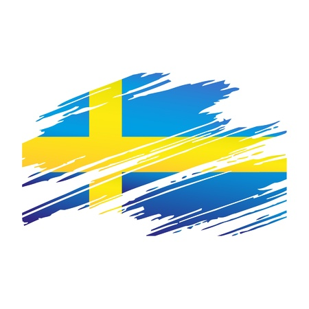 Flag Sweden in the form traces brush isolated  Stock Vector - 17329151
