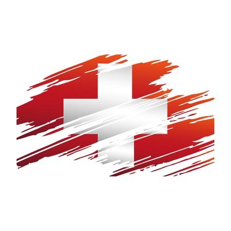 Vlag Van Switzerlandin de vorm geïsoleerd sporen borstel