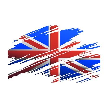 bandera de gran bretaña: Bandera de Gran Bretaña en el cepillo de forma aislada huellas Vectores