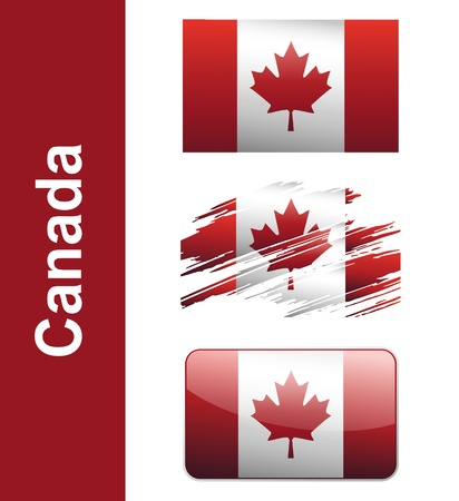maple leaf: Flag Canada isolated on white background